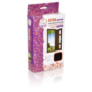 Сетка-штора на дверь противомоскитная, 45х210 см, с крепежной лентой в комплекте, 2 шт. в упаковке
