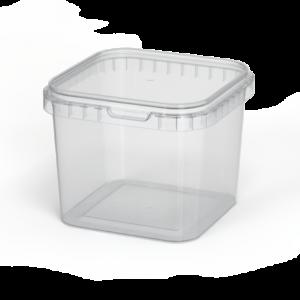 Ведро 1,0л квадратное с крышкой прозрачное