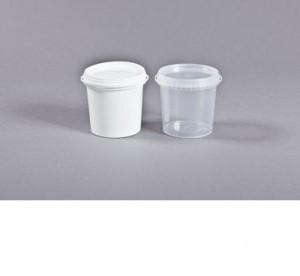 Ведро 1,0л прозр. в упак 150 шт   с белой крышкой 1/150/300